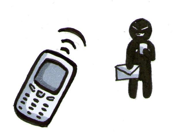 Smartphone. Im Hintergrund eine gefährliche Figur. Bild: Lina Sophie Wegener.
